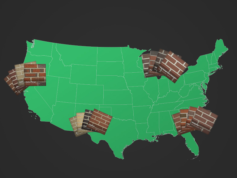 Map of the United States showing that different bricks may be available in different locations