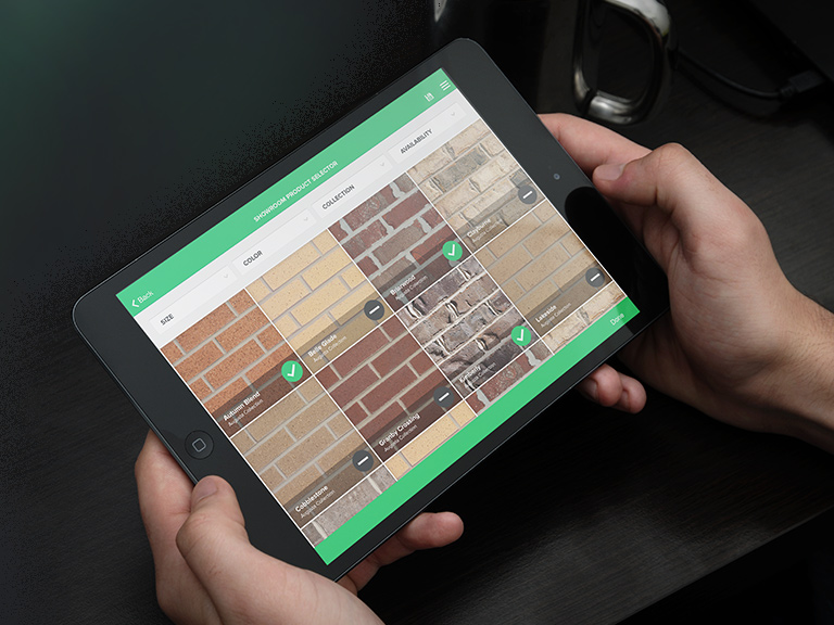 Someone browsing the Boral brick selection using the app