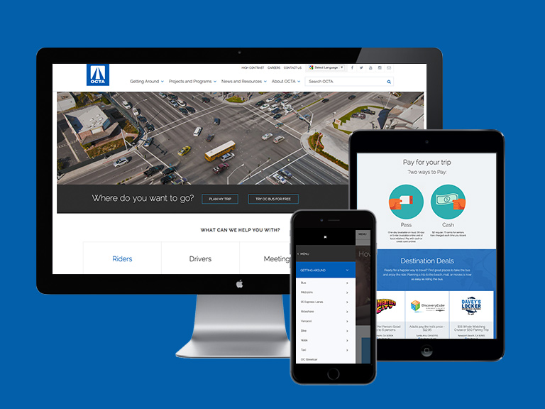 Displaying various website screens on different devices
